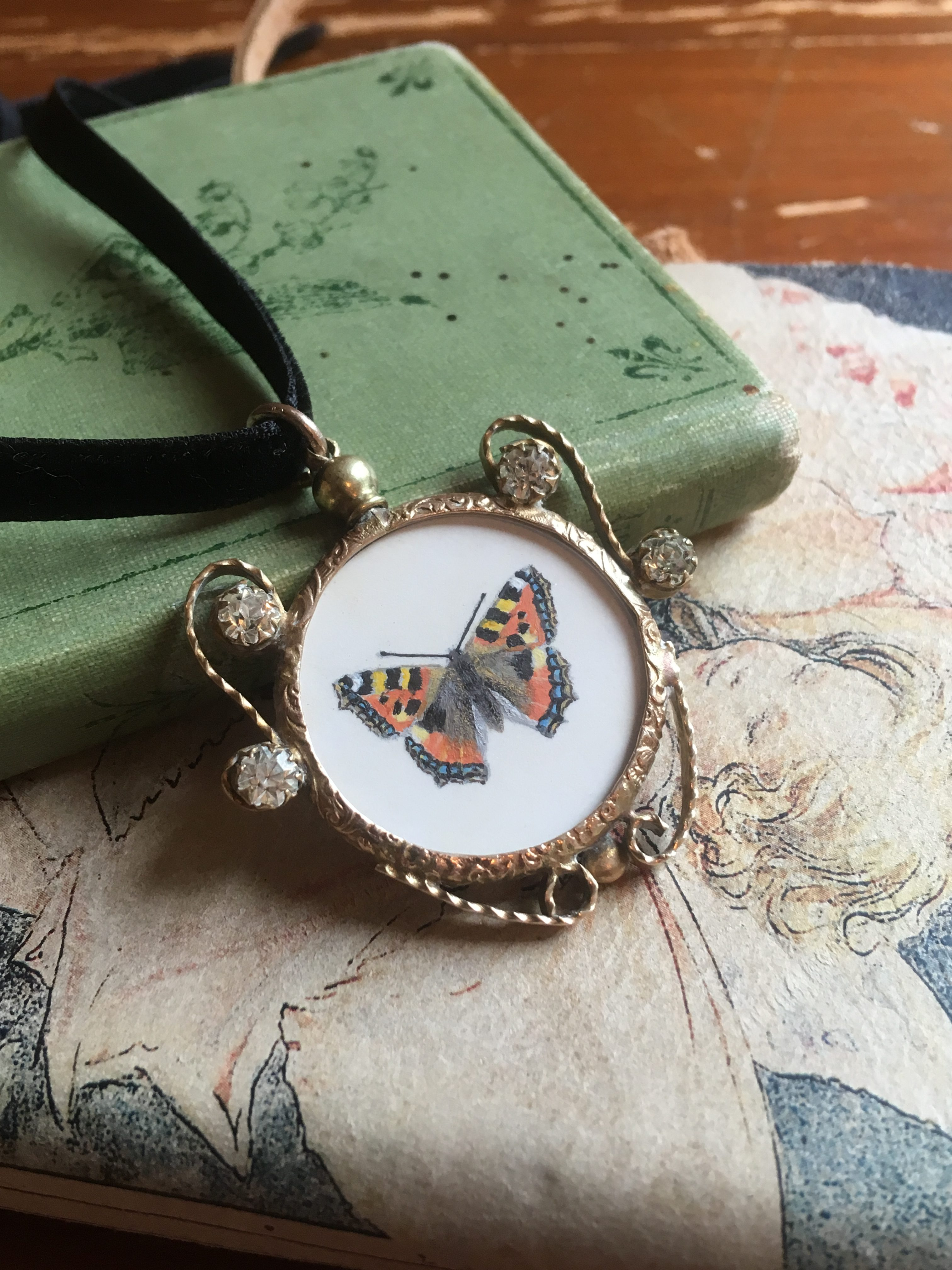 Small Tortoiseshell Butterfly - hand-painted Victorian style pendant