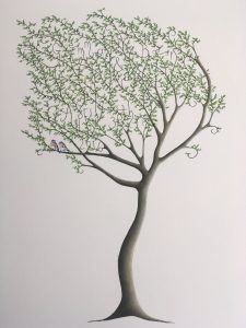 Treespeake personalised wedding commissions - tree painting with two birds
